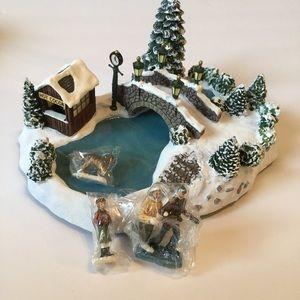 "Thomas Kinkade ""Skating at the Pond"" Christmas"